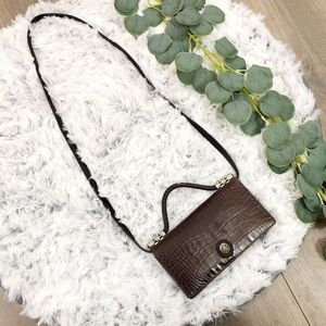 Vintage Brighton Leather Croc Embossed Crossbody
